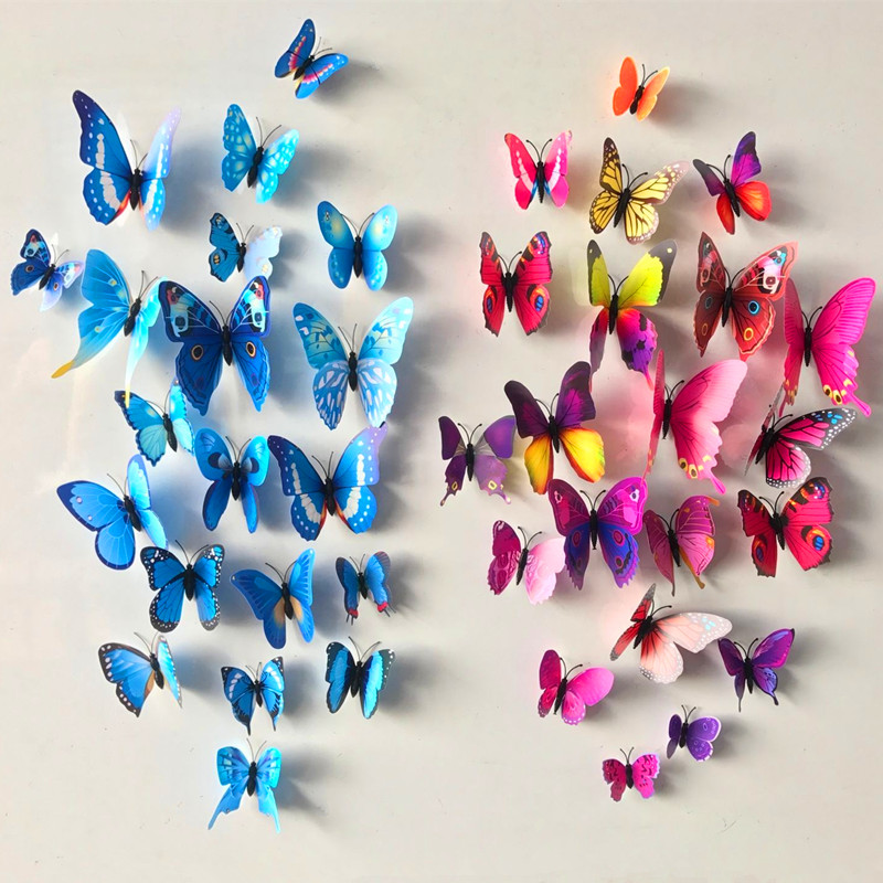 12pcs/lot PVC 3D DIY Butterfly Wall Stickers Home Decors Kids Baby Room Kitchen Bathroom Fridge Adhesive Wall Decals Decorations
