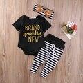 Игристые Новорожденный Ребенок Девушки Ползунки + Полосой Брюки + оголовье 3 шт. набор новорожденный ребенок Девушки одежда наборы