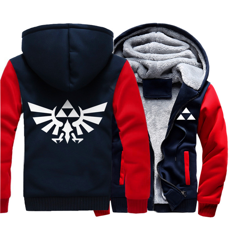 Men's Winter Thick Cartoon Anime Jacket The Legend Of Zelda Contrast Color Coat Hooded Sweatshirt With Polyster Villus Lining