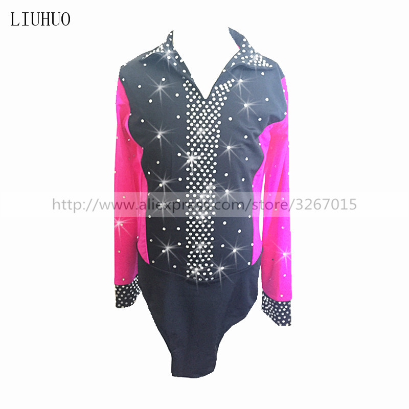 Boys men figure skating costumes TopsFigure skating show clothing Collar long sleeve style Rose red black Sparkling rhinestones