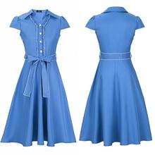 Zioksy Brand S - XXL Women Dress Retro Vintage Ruffles Turn Down Collar Swing Summer Dresses Elegant 6 Colors Vestidos