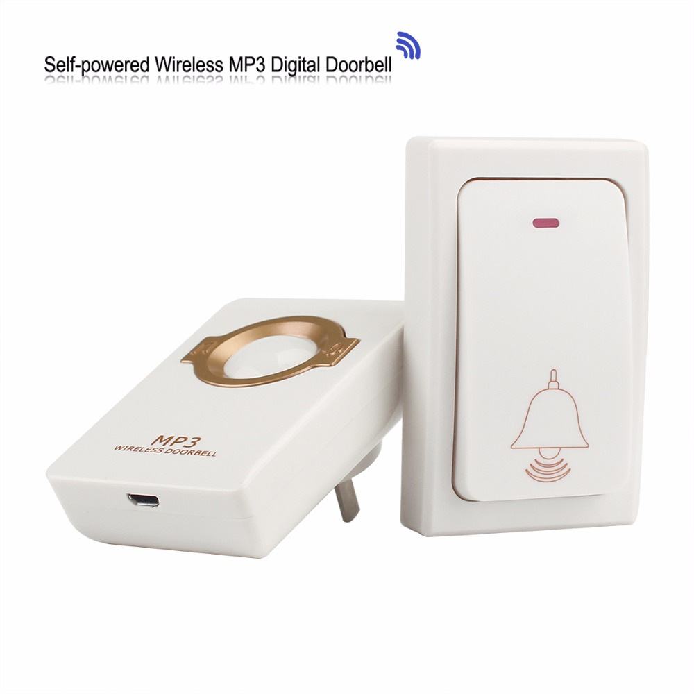 Wireless Doorbell 1 Self-powered Remote Button & 1 Receiver MP3 Digital Long Range Waterproof for Home F1753B wireless pager system 433 92mhz wireless restaurant table buzzer with monitor and watch receiver 3 display 42 call button