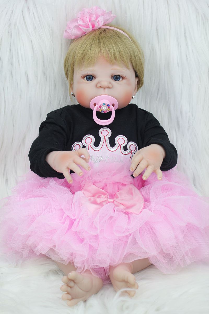 55cm Full Body Silicone Reborn Baby Doll Toy 22inch Newborn Girl Princess Toddler Babies Doll Child Bathe Toy Birthday Xmas Gift-in Dolls from Toys & Hobbies    2