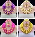 Increíble Joyería de Los Granos Africanos Set Nigeriano Perlas Dubai 18 K Plateó Sistemas de La Joyería 2016 Hechos A Mano de Bolas Collar de Perlas Conjuntos