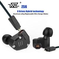 Original KZ ZS6 2DD 2BA Hybrid In Ear Earphones HIFI DJ Monito Running Sport Earphone Earplug