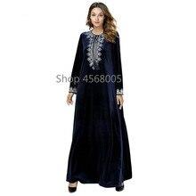 Beludru Gamis Wanita Bordir Biru Tua Muslim Gaun Plus Ukuran Jubah Kaftan  Turki Bangladesh Islam Pakaian Dubai Abaya 9b54747db3
