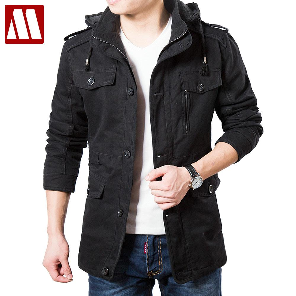 2017 Plus Size Winter Coat Men Hooded Jackets New Brand Wool Liner Warm Thick Parka Coats Military Vintage Style Mens Clothing