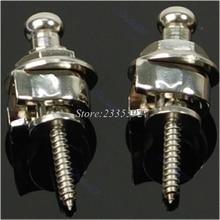 2PCs/Set High Quality Guitar Chrome Bass Round Head Strap Locks