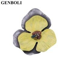 GENBOLI Stylish Yellow Color Vintage Elegant Flower Pattern Brooch Pins for Women Party Wedding Fashion Jewelry Accessory