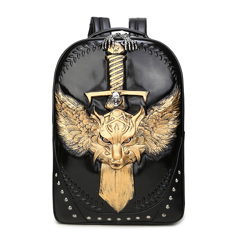 3D Wolf Backpacks Punk Rivet Leather Bag Men and Women Casual Shoulder Bags Loptop Packs Boys Personality School Bags Waterproof new 2018 punk hip hop skull men backpacks waterproof pu leather rivet women backpacks casual school bags for teenagers mochilas