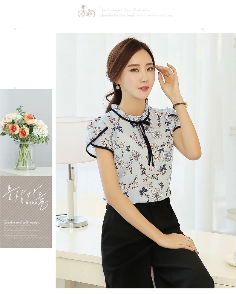 HTB1xHmyPVXXXXaBXVXXq6xXFXXXF - Summer Floral Print Chiffon Blouse Ruffled Collar Bow Neck Shirt