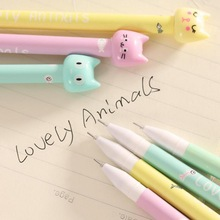 Jonvon Satone 12PCS Creative Cute Cartoon Candy Color Gel Pen Cat Stationery pen Students Kawaii Stationery Korean Stationery недорого