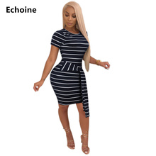 Woman Sexy Bodycon Mini Striped Dress Summer Slim Skinny Dress with Belt Club Outfit Short Sleeve Elegant Party Dresses Vestidos цена 2017