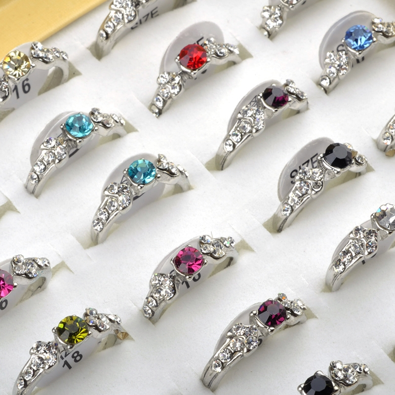 50Pcs Wholesale Lots Mix CZ Crystal Children Kids Silver Plated Adjustable Rings