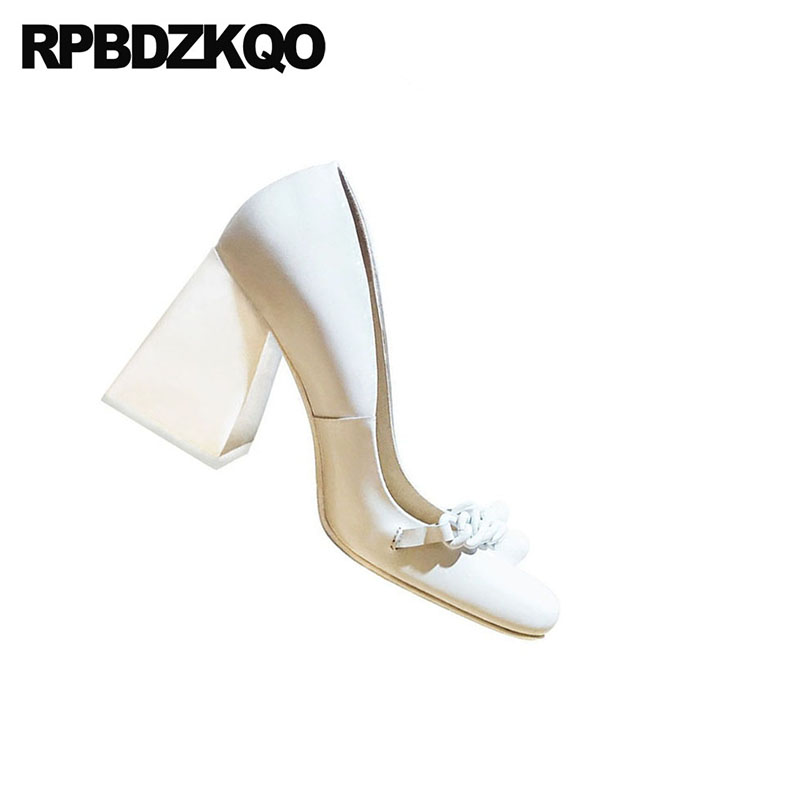 10 42 Genuine Leather Brand Block Ladies Pumps Size 33 Square Toe 3 Inch High Quality Sexy White Heels Shoes Big 2018 Customized - 3