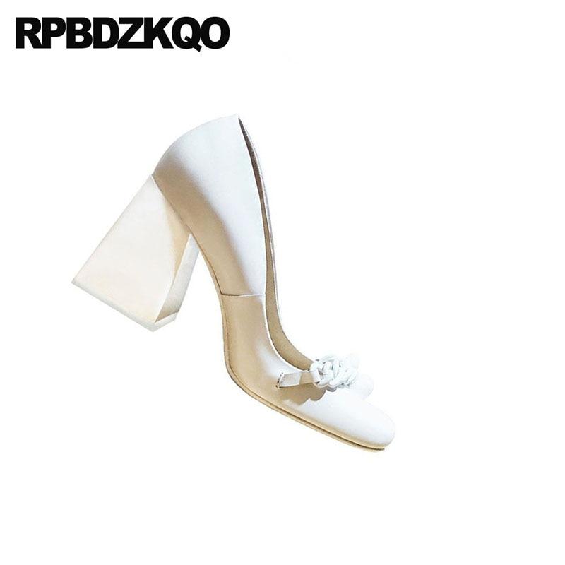 10 42 véritable cuir marque bloc dames pompes taille 33 bout carré 3 pouces haute qualité Sexy blanc talons chaussures grand 2018 personnalisé - 3