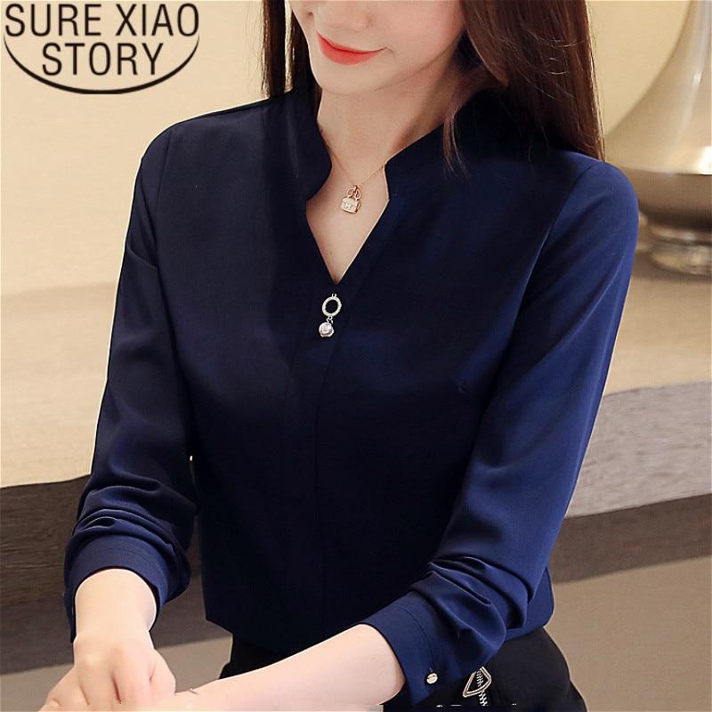 Partes superiores das mulheres e blusas blusas mujer de moda 2019 camisas blusa Beading Chiffon Sólida Com Decote Em V camisas brancas 2412 50