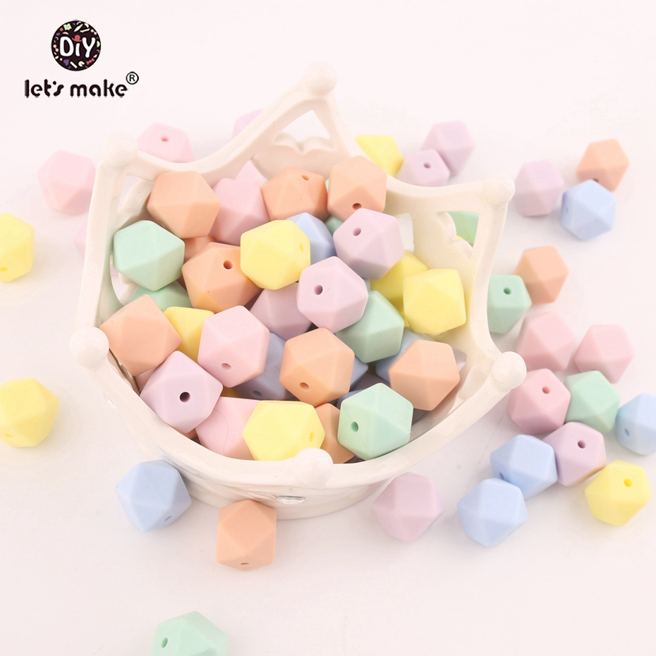 Let's Make Candy Color 10pc 14mm Mint Silicone Beads Teether Can Chew Octagonal Beads DIY Teething Hex Beads Baby Teether