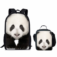 ThiKin 2PCS Backpack 3D Preppy Panda Printing Backpack Travel Softback Bag Mochila School Bag Set For Girls Bagpack Set