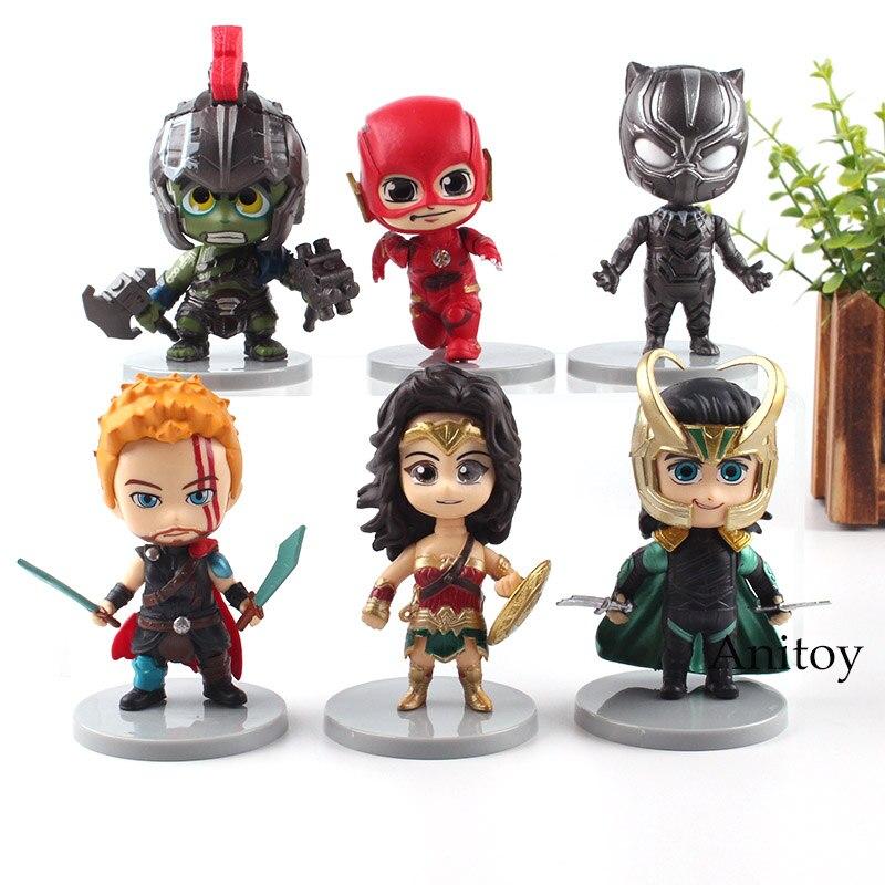 Marvel рисунок DC комиксов Тора, Халка Wonder Woman Черная пантера вспышки Локи фигурку 6 шт./компл. игрушки 10 см
