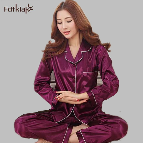 a4c1896bb Spring Summer Women Pajamas Long Sleeve Silk Pyjamas Pijamas Women s Home  Clothes Suits Ladies Sleepwear Four