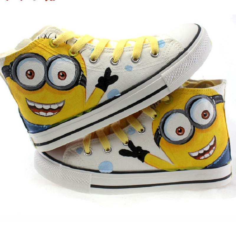Kids Boys Canvas Shoes Hand Painted Graffiti Cartoon High Help Flat Casual Shoes For Little Boy Children Breathable Sports Shoes