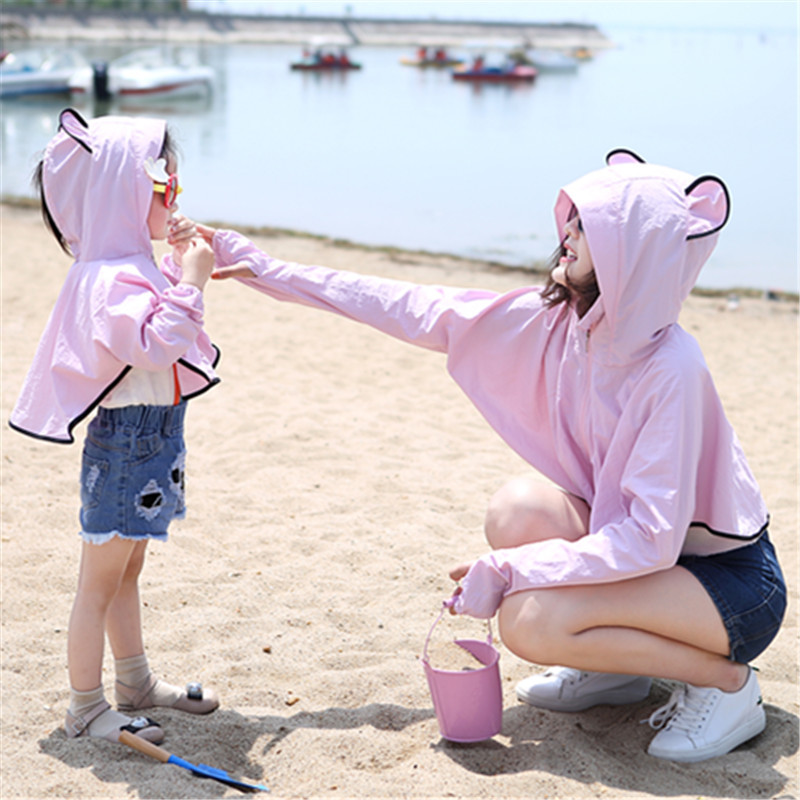 DoreenBow 1PC Women Cotton Ear Parents Fitted Summer Long Batwing Sleeve Equipment Sun Protection Clothing Thin Hooded Outwear