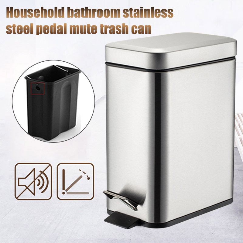 Pedal Bin Household Trash Can Mute Stainless Steel Kitchen Trash Bin with  Liner FAS
