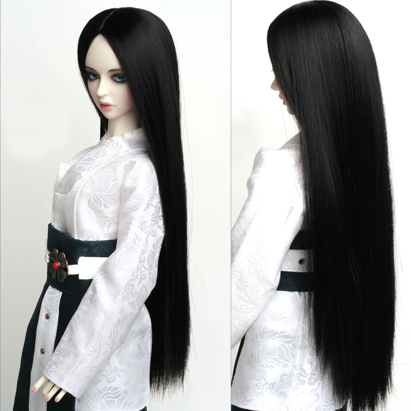 1/3 1/4 1/6 Bjd SD Doll Wig High Temperature Wire Beautiful Long Black Straight BJD Wig Super Dollfile For Doll Hair