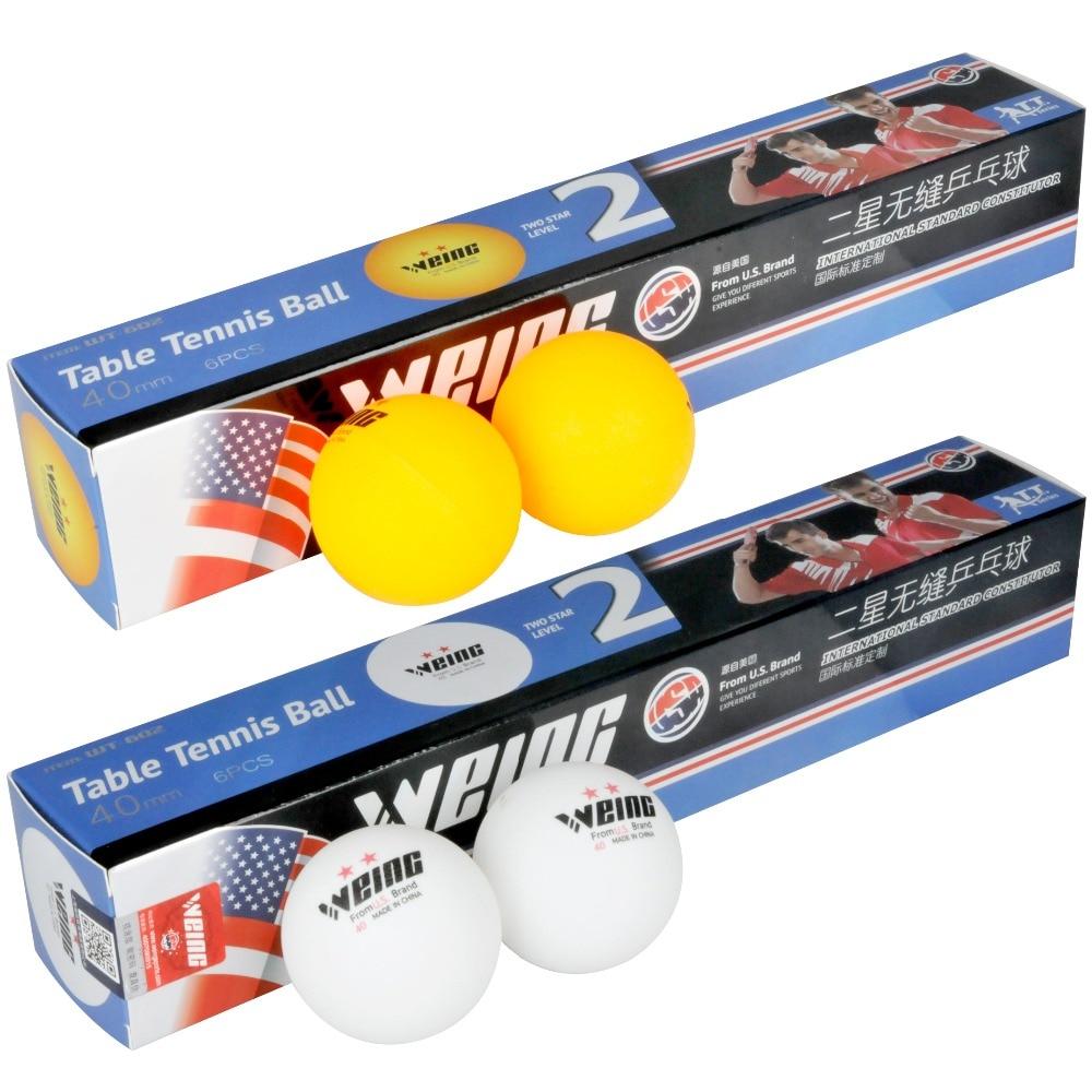 WEING 602 6 Pcs Table Tennis Balls Orange Ping Pong Ball White Pingpong Ball Training Ball