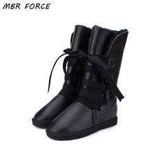 MBR FORCE Australia Classic Botas Mujer Genuine Cowhide Leather Women Snow Boots Fur Winter Boots Waterproof Women Long Boots(China)