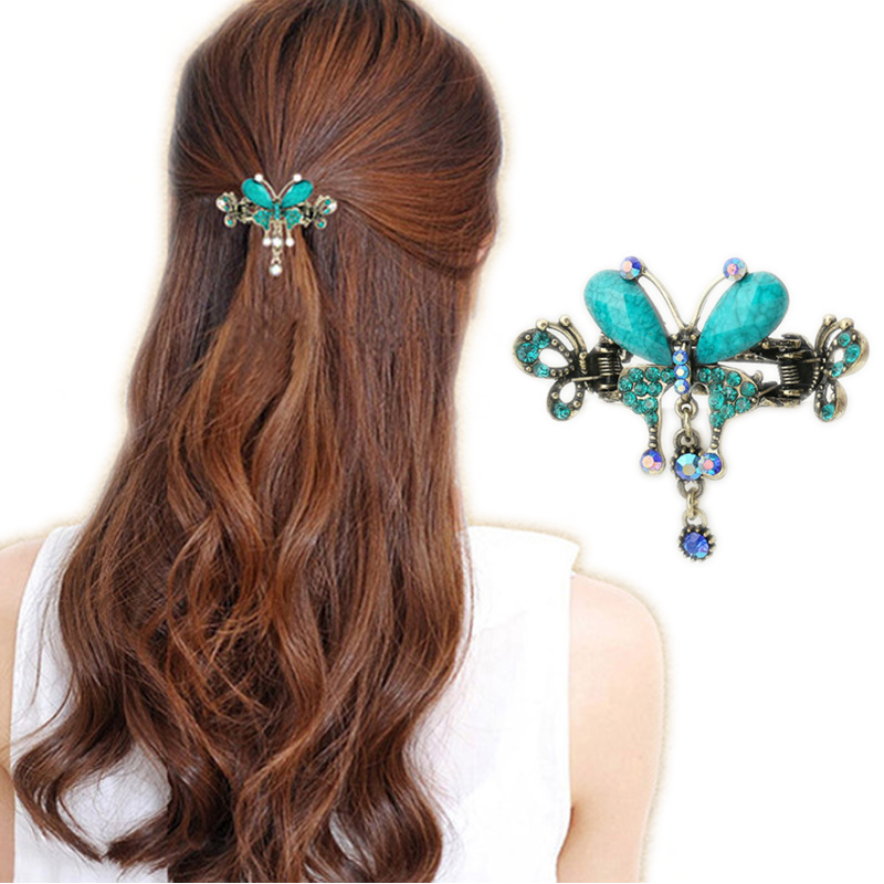 Elegant Women Turquoise Butterfly Flower Hairpins Vintage Hair Barrettes Clip Crystal Butterfly Bow Hair Clip Hair Accessories retro vintage women ladies girls hair clips crystal butterfly bowknot hairpins hair accessories