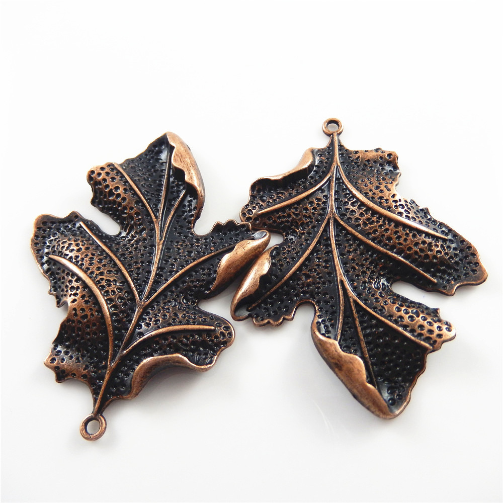2pcs/lot Red Copper Vintage Leaves Shape Necklace Pendant Women Gift - Fashion Jewelry - Photo 2