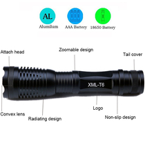 CREE XM-L T6 4000LM cree led Torch Zoomable cree LED Flashlight Torch light For 3xAAA or 1×18650 battery