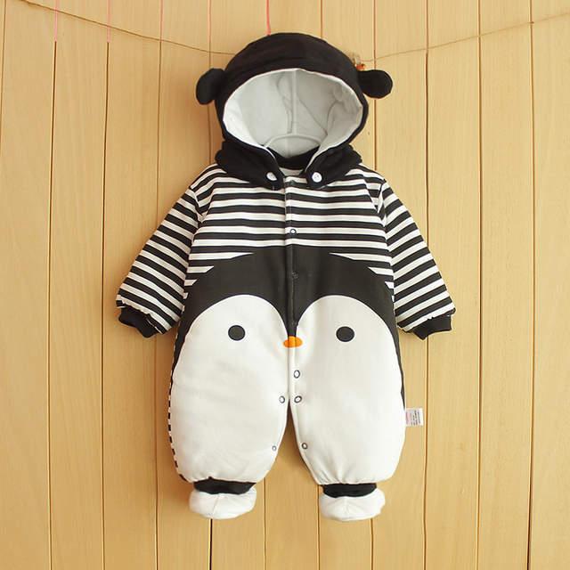 dbbc264141 placeholder Ropa de bebé recién nacido ropa de algodón de una pieza con  capucha gruesa bebé caliente