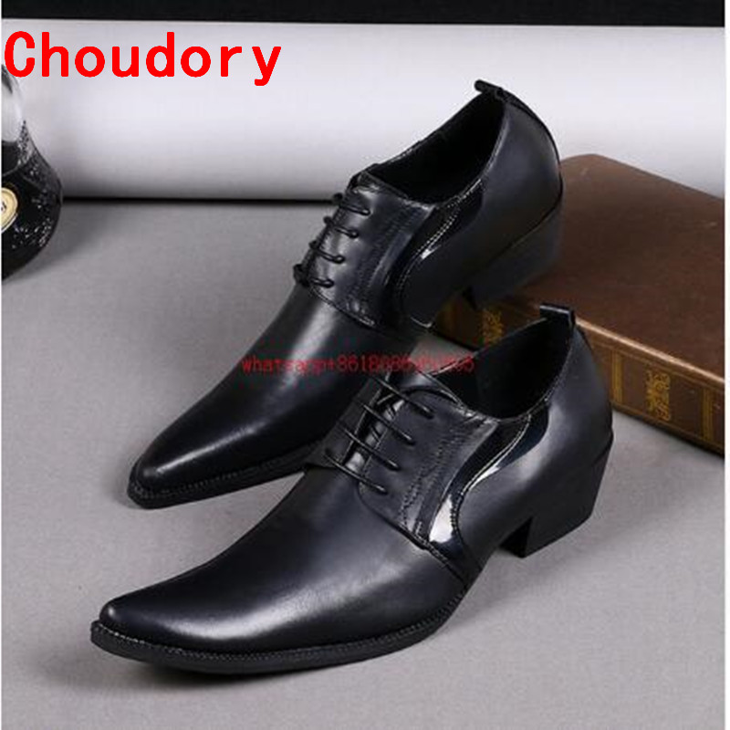 Choudory chaussures hommes marque de luxe robe de mariée en cuir véritable chaussures hommes haute talons respirant décontracté marié chaussures grande taille