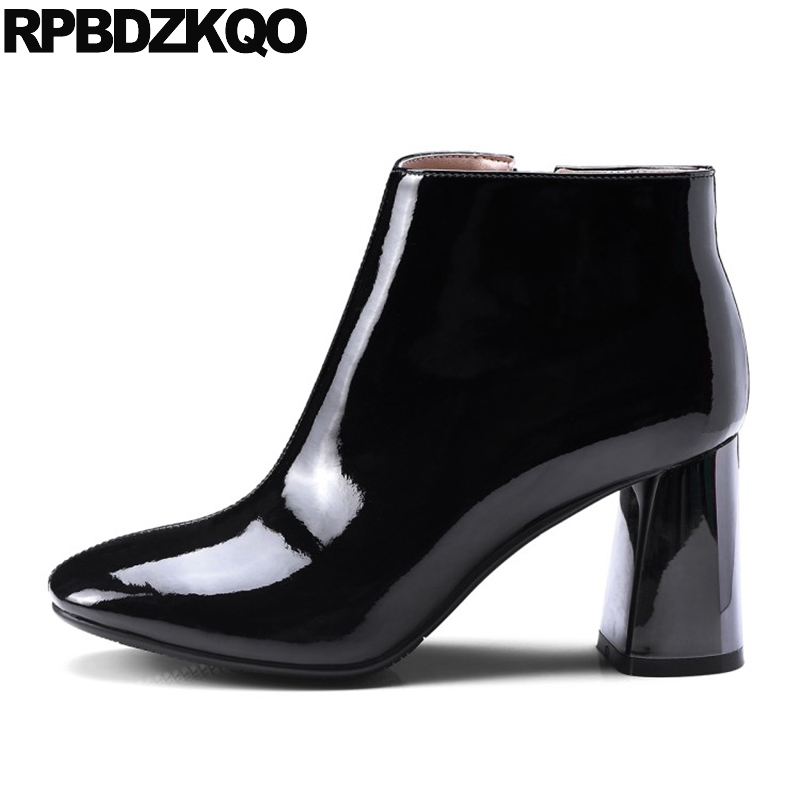 Short Chunky Fall High Heel Black Side Zip Boots Genuine Leather Fashion Ankle Booties 2017 Shoes Patent Round Toe New Ladies women ankle boots medium heel genuine leather booties vintage thick suede round toe chunky shoes slip on platform brown fall