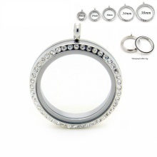 ( 20mm 25mm 30mm 34mm 38mm ) floating lockets 316L stainless steel screw crystal living memory  pendant 10pcs/lot
