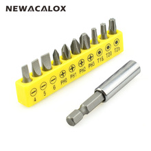 NEWACALOX Repair Hand Tool CRV Precision Magnetic Screw Driver Torx Bit Hex Extend Holder 11pcs/set(China)