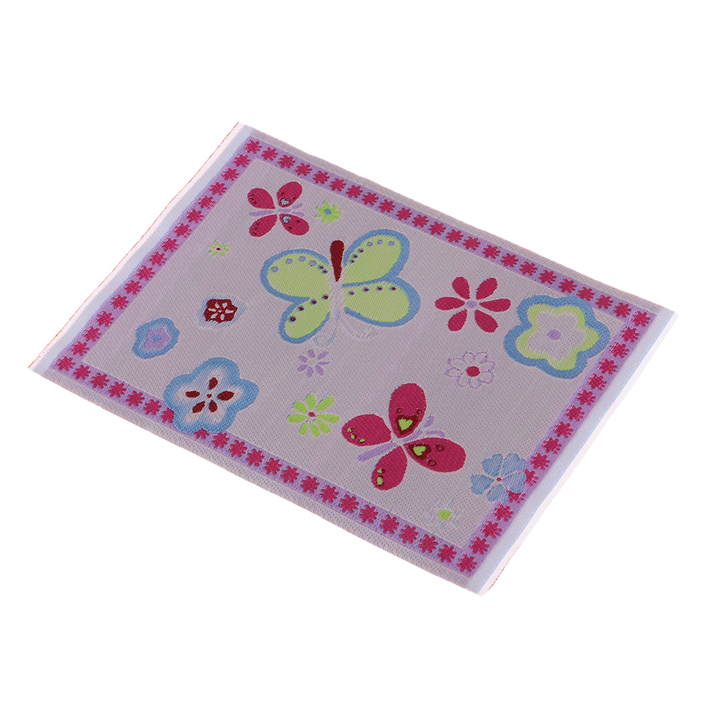 Dollhouse Miniature Floor Covering Mat Rug Pink Butterfly Room Accessory