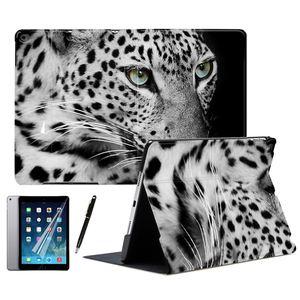 Pantera preta leopardo animal couro do plutônio suporte inteligente caso capa para ipad ar 1 2 3 9.7