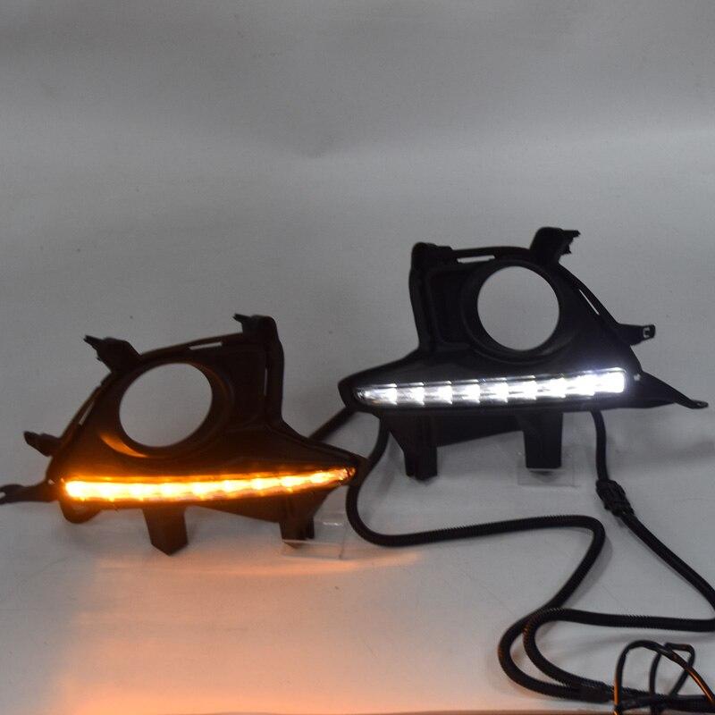 2 шт. Автомобильный светодиодный DRL + противотуманный светильник, дневной ходовой светильник для Toyota Highlander 2014 2015 2016 DRL лампа emark водонепроница