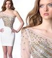 Robe de soriee Cortos Atractivos Vestidos de Baile 2017 de Un Hombro Crystal Beads Largo Sleevs Vestidos de Noche Del Partido Vestidos de Fiesta