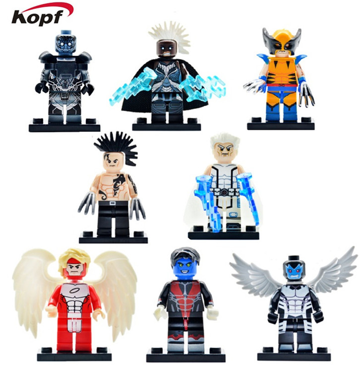 PG8019 Super Heroes X-Man Angel Apocalypse Wolverine Daken Archangle Magneto Nightcrawler Building Blocks Toys for children Gift