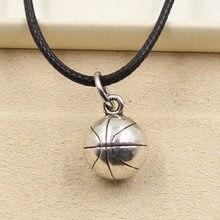 Nieuwe Mode Tibetaans Zilveren Kleur Hanger Basketbal Ketting Choker Charm Zwart Lederen Koord Fabriek Prijs Handgemaakte Sieraden