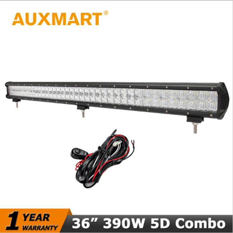Auxmart CREE Chips 5D 36 390W LED Car Light Bar Work Driving Spot Flood Beam Fit 12V 24V Truck SUV Pickup ATV Trailer Offroad cree red round 7inch 90w led bar 3d lens spot beam offroad led work light bar trailer car truck 4x4 atv suv auto driving lamp12v