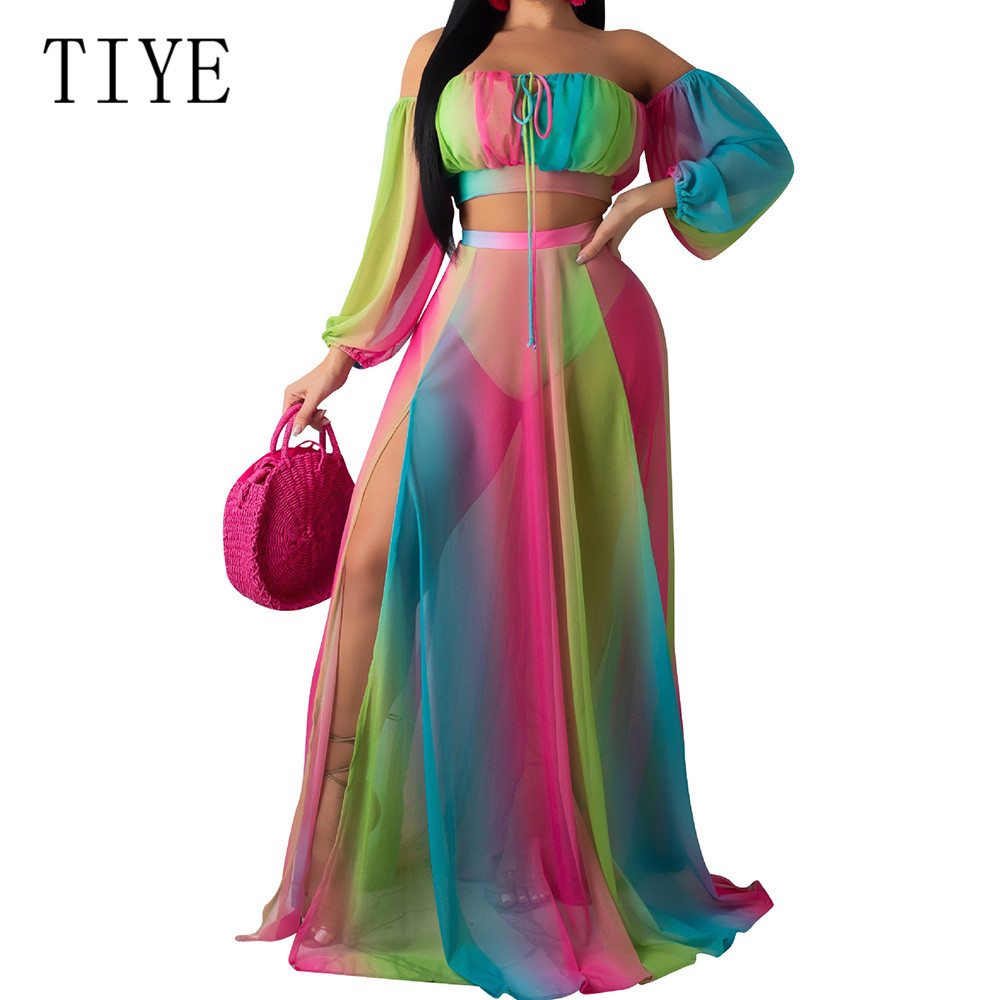 TIYE Two Pieces Set Sexy Strapless Tie Dye Rainbow Print Beach Mesh Dress Long Sleeve Women Party High Split Maxi Dresses