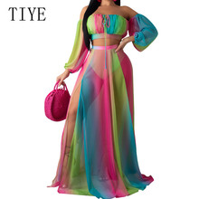 TIYE Two Pieces Set Sexy Strapless Tie Dye Rainbow Print Beach Mesh Dress Long Sleeve Women Party High Split Maxi Dresses