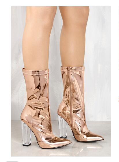 Glitter rose gold Spring boots transparent clear heels pointed toe sequined cloth women shiny sheos mid-calf women boots silver double buckle cross straps mid calf boots