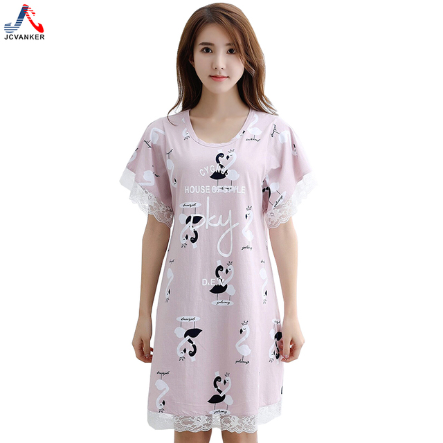 c9902eb9a883 JCVANKER Summer Cotton Nightgowns For Women Lace Purple Female Lady Sex  Sleepwear Nightwear Home Dress Night Shirts Nightdress